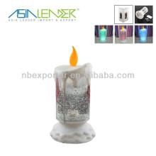 Luz de vela LED de plástico con brillo giratorio