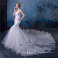 Vestido de boda de la sirena atractiva del imperio del cordón de la flor 3d