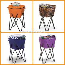 Pop-Up Tailgating Cooler removível e dobrável Portable cooler stand tub com pernas de metal e cobertura de 100% de poliéster