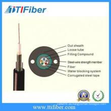 12 cable de comunicación de la fibra óptica al aire libre GYXTW de la base