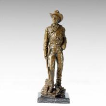 Soldados Figura Estatua Gun Cowboy Escultura De Bronce TPE-306/308