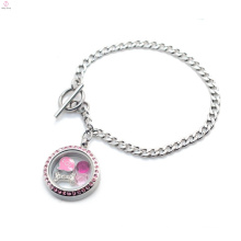 Trendy stainless steel magnetic silver pink crystal toggle clasp floating photo locket bracelet jewelry