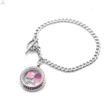 Модные нержавеющей стали магнитный серебряный розовый кристалл замочек с плавающей фото медальон браслет ювелирных изделий