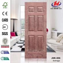 JHK-006 Seis paneles de alta calidad Popular Australia diseño de la construcción Natural Bubinga hoja de la puerta