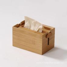 Boîte à mouchoirs porte-tissus réglable boîte en bois de bambou
