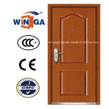 Porta Blindada de folheado de madeira MDF de aço inoxidável de alta qualidade (W-B1)