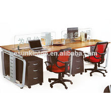 Simple 4 person computer workstation with partitions (KW909)