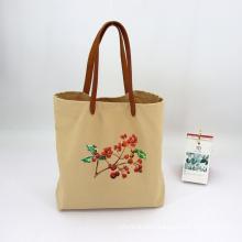 Custom Logo Genuine Leather Hand Strap Biodegradable Women Tote Bag Cotton Linen Canvas Custom Shopping Bag