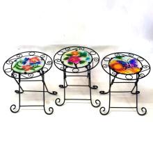 3 Asst Garden Decoration Stained Glass Chair Metal Flowerpot Stand Craft