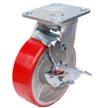 Поворотный PU на литой чугун с боковым тормозом (красный)