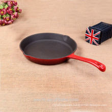 household cookware round cast iron frying pan dark red