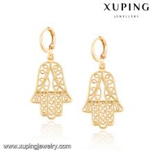 92444 Xuping nuevo diseño y pendientes de hamsa chapados en oro