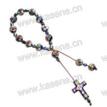 Fashion Cloisonne Cord Bracelet with Cloisonne Cross