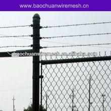 Valla vinílica residencial de enlace de cadena con alambre de púas