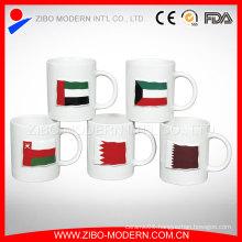 Custom Color Glazed Banner Ceramic Embossed Cup, 320ml Ceramic Cup for Beverage
