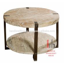 Table basse industrielle en bois antique de 2 étages