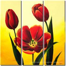 Peinture à l'huile de fleur rouge fraîche