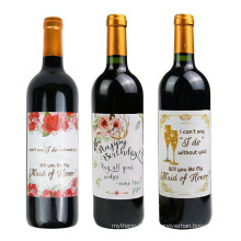 Custom Waterproof Adhesive Food Containers Label Sticker for Wine