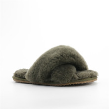 Women's Flat Bottom Sheepskin Slippers