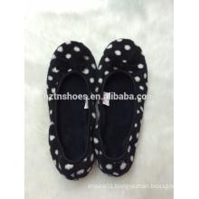 Lady indoor ballerina slippers with dots printing indoor slipper