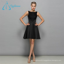 Lace Appliques Satin A-Line Sexy Black Prom Dress