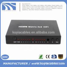 4 en 2 out 4 * 2 matrice HDMI avec convertisseur de télécommande