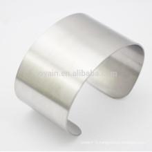 Unisex Wide Stainless Steel Plain Cuff Bracelet Blank