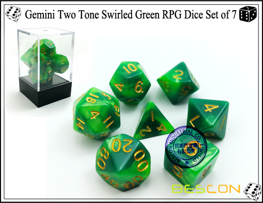 Gemini Two Tone Swirled Green RPG Dice Set of 7-1
