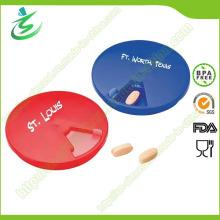 Werbe-Kunststoff-Runde geformt Mini-Pille-Box, 7 Tage Pille-Box