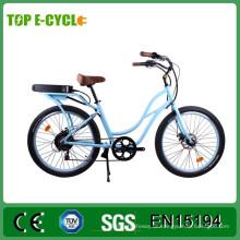 TOP / OEM 26 '48 V 500 Watt CE Damen Beach Cruiser Elektrisches Fahrrad / Günstige Stadt Elektrisches Fahrrad
