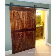 Vintage X Brace Wood Barn Раздвижные двери