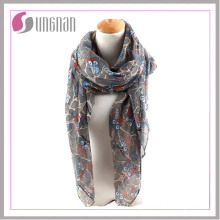 2016 Branches and Owls Pattern Printed Women Voile Scarf
