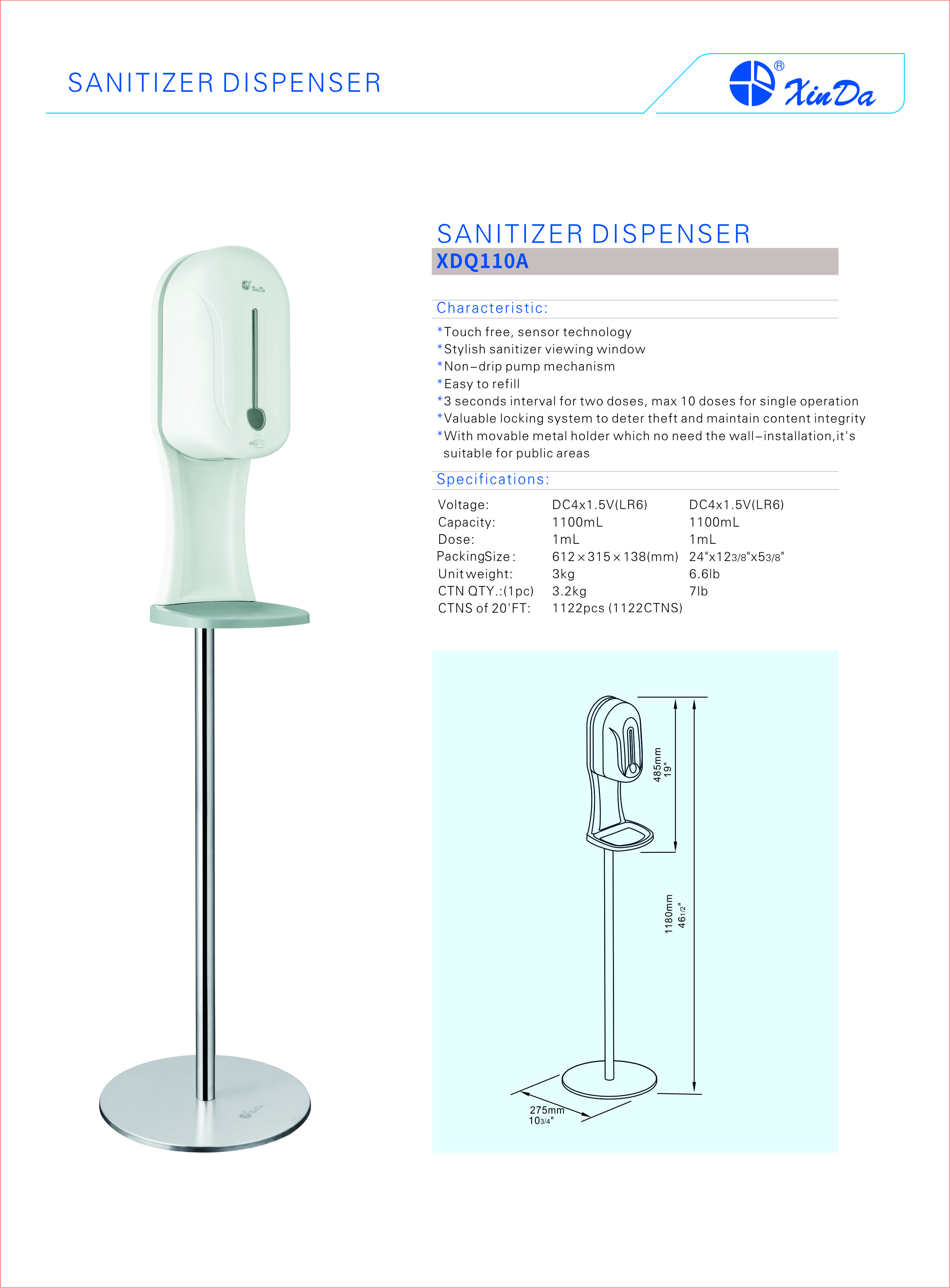 smart non-drip pump mechanism sanitizer dispenser