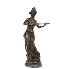 Escultura de bronze da escultura da fada da estátua da decoração da música Tpy-957