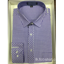Chemise business à carreaux teints en fil