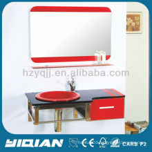 Wall Hanging Modern Design Two Piece PVC Shaving Cabinet Glass Washbasin