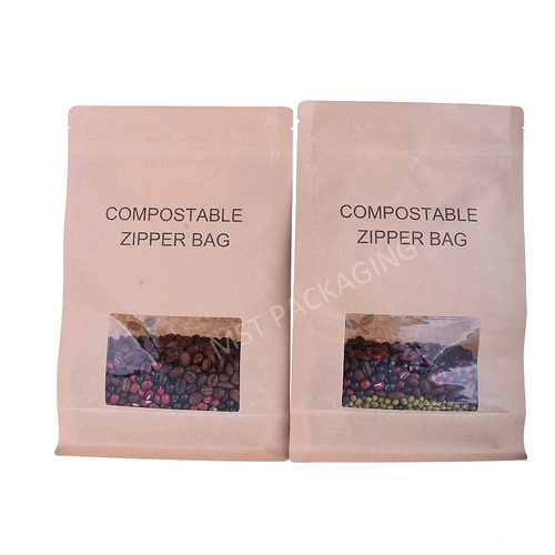 Impresión de bolsa compostable biodegradable de fondo plano