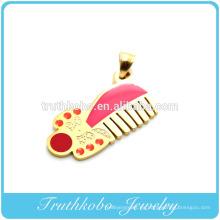 Colgante de vacío de oro 2014 moda hotsales peluquero peine forma colorido esmalte collar de acero inoxidable colgante