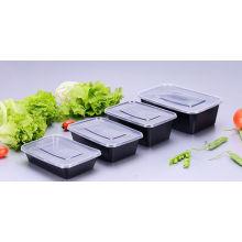 Récipient en plastique jetable rectangulaire de nourriture de 650ml Microwaveable avec le couvercle