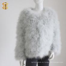 Lovely piel de Turquía de plumas de abrigo corto de piel de plumas prendas de vestir para las mujeres