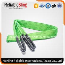 Polyester Flat Eye Type 2 Ton Green industrial Lifting Belt