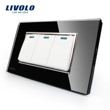 Livolo promotion luxe panneau de verre en cristal noir 3 bandes 2 voies commutateur à bouton poussoir VL-C3K3S-82