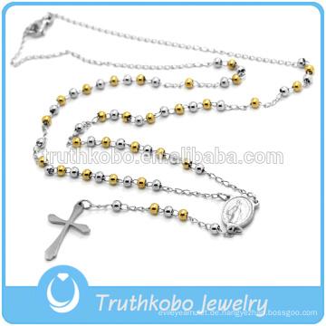 Rosen-Perlenhalskette der bestes des Verkaufs der hochwertigen religiösen Schmucksachen katholische Art und Weise Edelstahl-Männer zwei Tongoldrosa