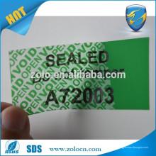 Selo especial de alta segurança impresso personalizado, adesivo aberto para embalagem