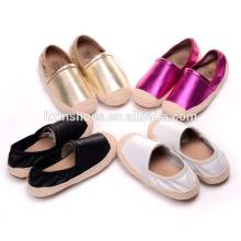 Мода повседневная обувь девочек дети плоские туфли джута подошвы