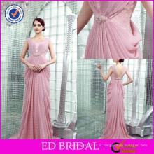 ED-YH2447 OEM Preço de atacado Peach Color Beaded Pleated Designer Dress