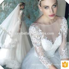 Deep V Neck Custom Make Langarm Formal Brautkleid Elfenbein Brautkleider
