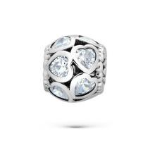 Heart CZ 925 Silver Beads European Bracelet