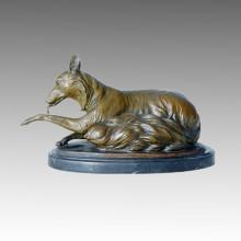 Tier Statue Fuchs sitzen Bronze Skulptur Tpal-097