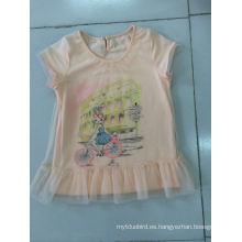 Vestido encantador de la camiseta del bebé en la ropa de los niños con la tela neta (SGT-002)